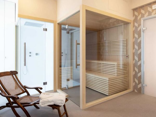 sauna finlandais moderne vitré